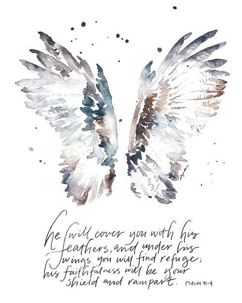 angel wings watercolor art with bible quote