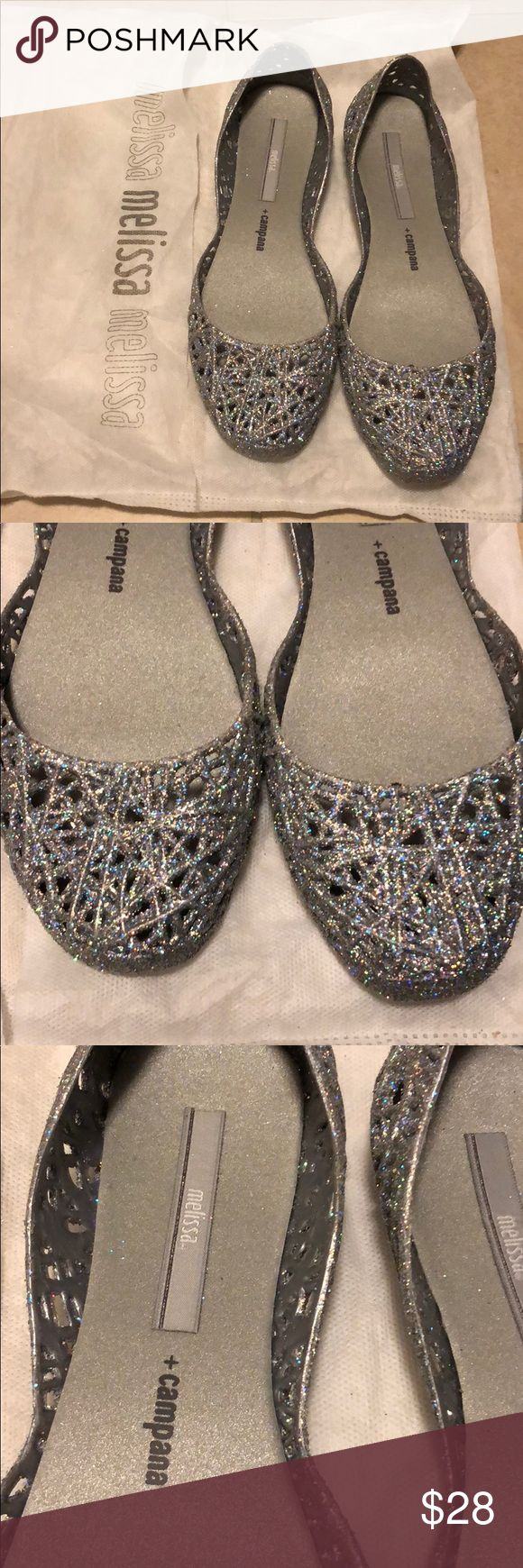 Brand new Melissa campana zig zag silver glitter Brand new without box - comes with dust bag - melissa campana zig zag silver glitter size 7 (36 Brazil). These jelly flats smell like bubble gum. They are super comfy and will add the sparkle to your outfit! Melissa Shoes Flats & Loafers