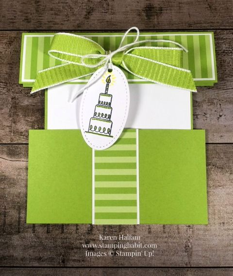 Gift Card Holder Birthday Idea Amazing Life Stamp Set Wrapped Box For Stampin Up Designer Series Paper Granny Apple Green Ribbon