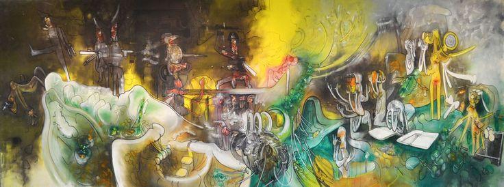 """Roberto Matta (1911 - 2002) - Pintor e desenhador que privou com grandes nomes do movimento Surrealista europeu, artistas que inspiraram a sua obra.  """"Watchman: what of the night?"""", de 1968 – Nesta obra podem ser observadas cores coloridas e violentas, e estão presentes robôs, autómatos e insetos, figuras primitivas e formas oníricas que ilustram os sonhos, as alucinações e pesadelos da nossa civilização tecnológica."""