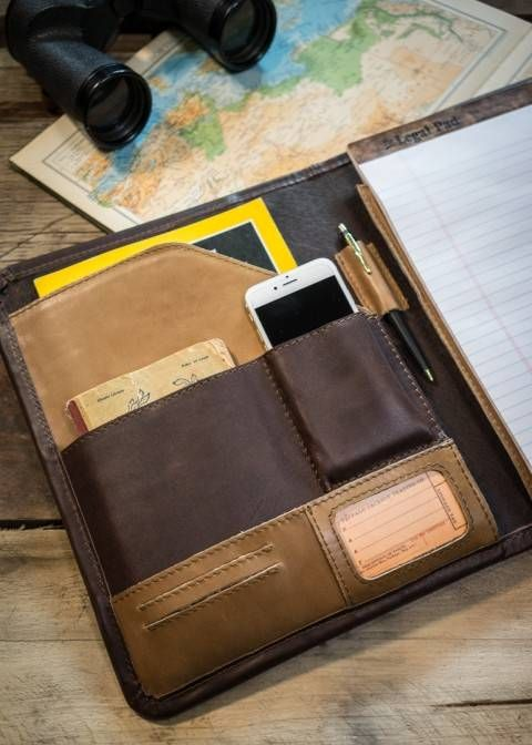 Daily Planner for Men - Riverton Leather Padfolio - Whiskey/Walnut