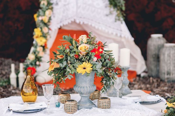 Colorful Bohemian Wedding Inspiration off the Coast of Santorini- floral centerpiece and decor