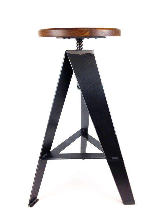 Original Windmill Stool Raw Metal Legs Counter Height Walnut