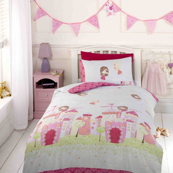 Fairy Castle Duvet Cover Ideal For Any Fairy Princess Themed Bedrooms.  Duckegg Blue Background With