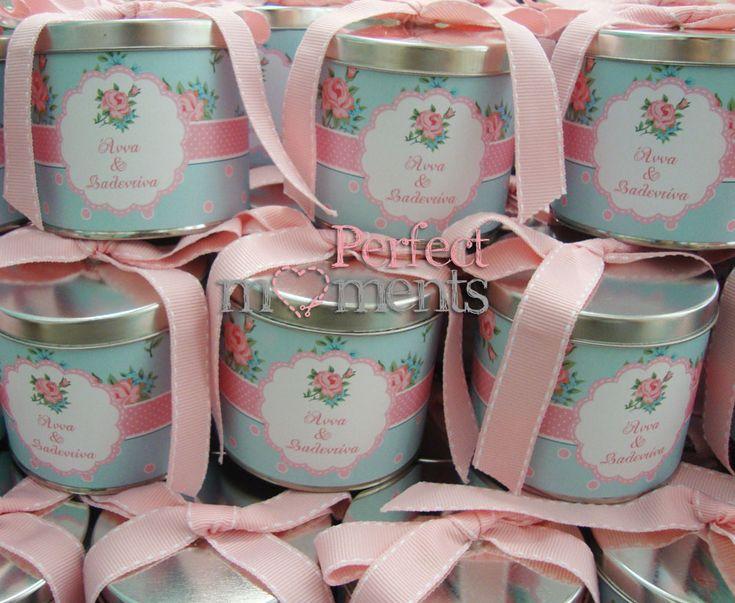 Μπομπονιέρα βάπτισης μεταλλικά κουτιά Roses