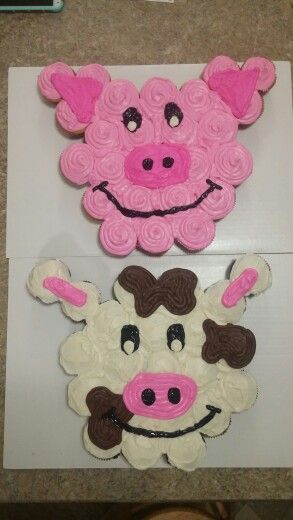 Cow and pig cupcake cake