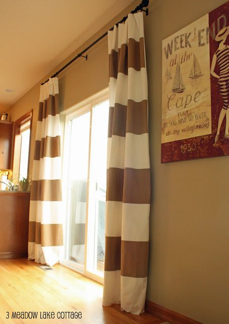 striped curtains for sliding glass door in the family room