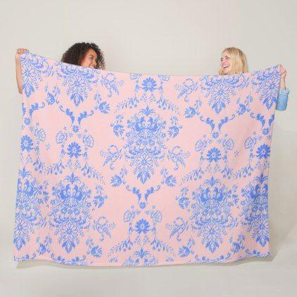 Blue on Pink Damask Fleece Blanket - home decor design art diy cyo custom