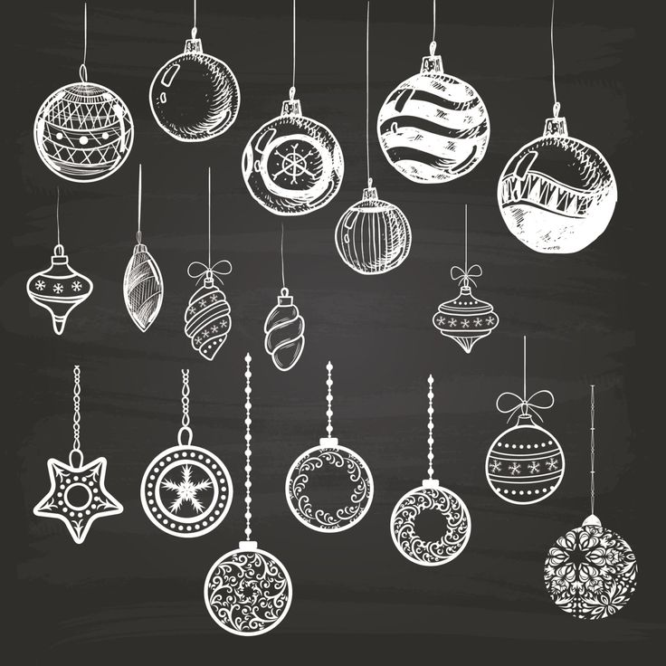 Digital Chalkboard Christmas Ball Clip Art. by Hippoartland