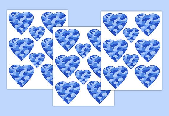 BLUE CAMO DECAL Heart Wall Art Stickers Girl Camouflage Room Decor #decampstudios
