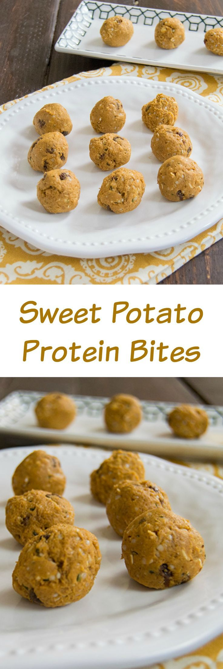 Healthy Sweet Potato Protein Bites - these vegan, low fat, high protein energy bites are perfect for after school snacks or post workout treats! This recipe is so simple to make!
