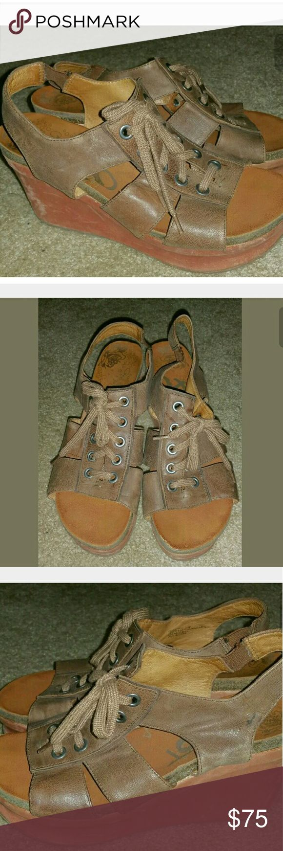 OTBT Lace Up Wedge Sandals 9.5 Light brown leather lace up wedge sandals, size 9.5. OTBT  Shoes Wedges