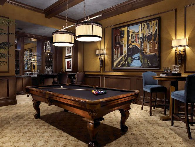 Nice looking billiard room from high end interior design for Pool design game
