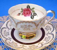 Royal Castle Burgandy Band English Teacup Set, Rose Tea Cup and Saucer England