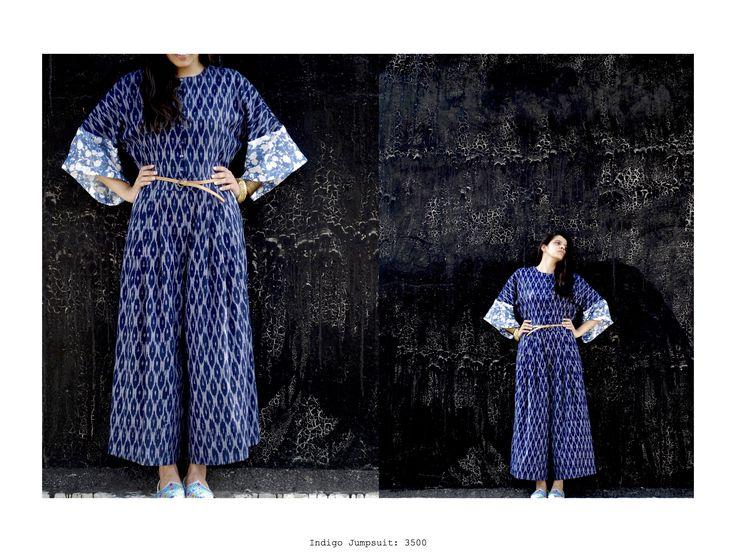 Kimono jumpsuit....#kimono #indigo #drawingsonaslate #ikat #handcrafted #grey #chanderi #cotton #fusion #tunic https://www.facebook.com/itrbykhyati