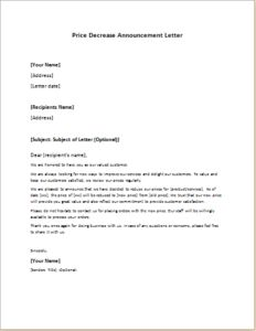 Price Decrease Announcement Letter DOWNLOAD At