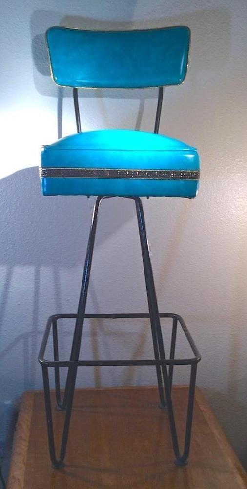 Vtg Mid Century Hair Pin Leg Bar Stool Aqua Very Good