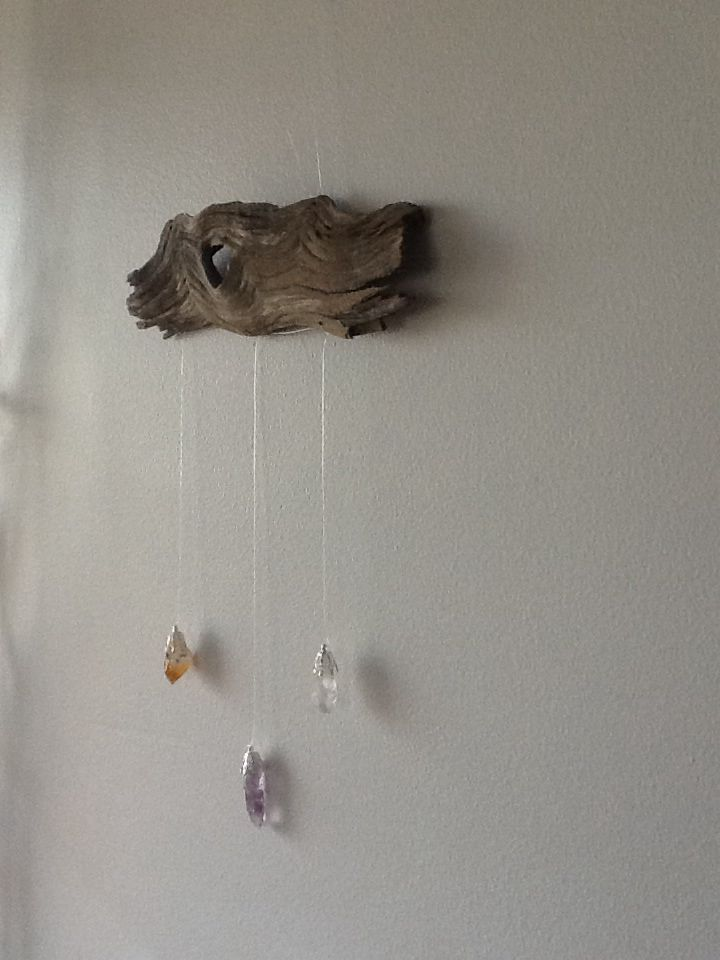 Driftwood Art Deco Piece with Crystals. Handmade