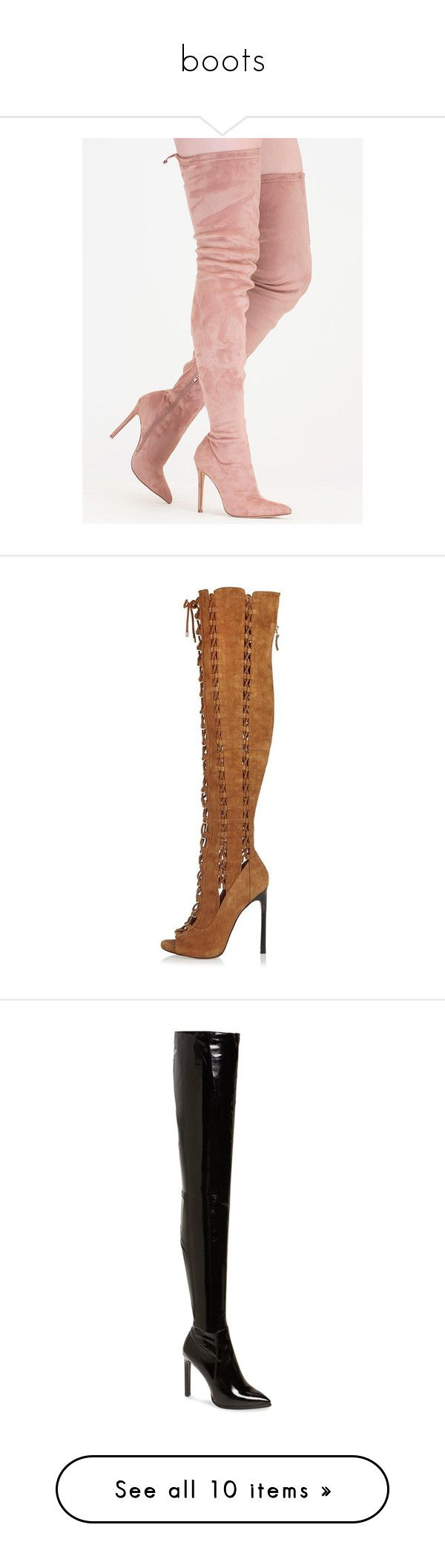 """""""boots"""" by aneliceblack ❤ liked on Polyvore featuring shoes, boots, heels, over-the-knee boots, pink, over-knee boots, stretch knee high boots, knee high stiletto boots, pink knee high boots and stretchy knee high boots"""