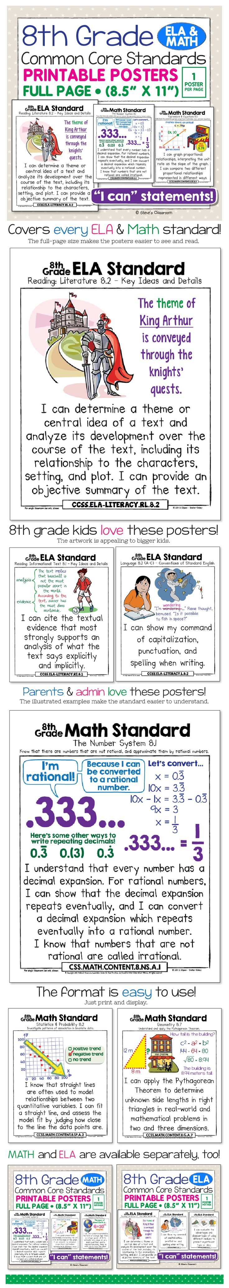 "Common Core Standards posters for 8th grade math and ela! Bring the Common Core Standards to life and make it easier to understand with age-appropriate illustrations and kid-friendly ""I can"" language. Big, colorful, age-appropriate posters for the eighth grade common core aligned courses! Very helpful for organizing curriculum."