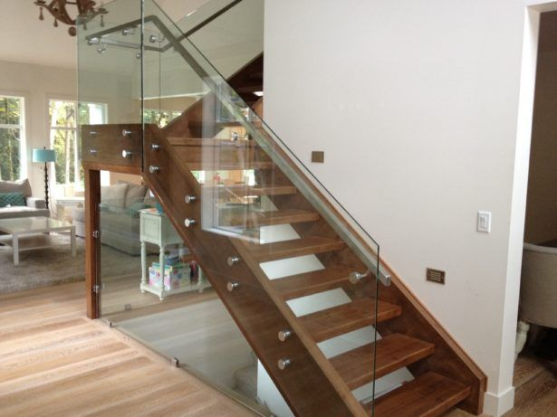 Interior Elegant Glass Stair Railing Home Stair Design Interior Picture Glass Staircase Design Living Room White Fluffy Carpet Ideas Balcony Wood Flooring White Wall Paint Color Staircase Railing in Minimalist Home Concept