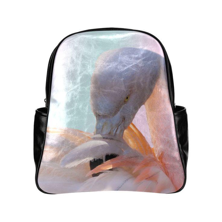 Pink Flamingo Pink Multi-Pockets Backpack. FREE Shipping. #artsadd #lbackpacks #flamingos