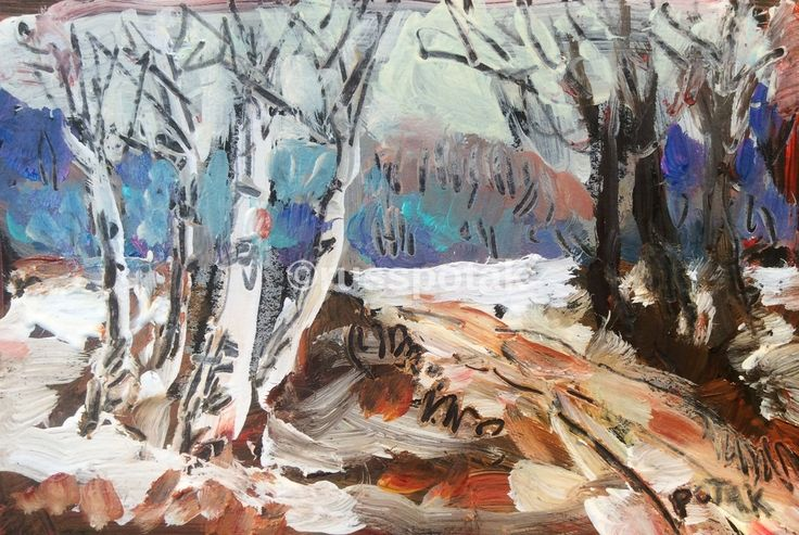 Birches Trees in Winter, Small matted original acrylic painting, hand made, art and collectible, nostalgic vintage like, impressionist art by RussPotakArtist on Etsy