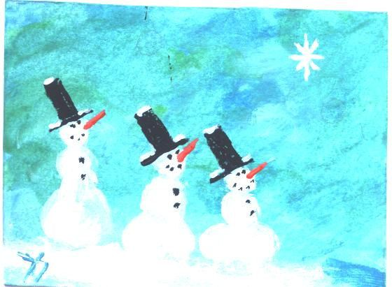 ACEO Three Wise Snowman Christmas painting by by jimsmeltzgallery, $20.00