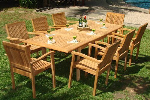 """New 9 Pc Luxurious Grade-A Teak Dining Set -94"""" Rectangle Table And 8 Stacking Arm Chairs [Model:LB4] by WholesaleTeak. $1499.99. Chair Dimension: 25"""" W, 23 1/2"""" D, 36 1/2"""" H . Table has umbrella hole in both position.. You can lengthen the table with minimal effort by simply opening the butterfly leaf extensions.. The chairs are stackable for easy storage.. ADD SUNBRELLA FABRIC CUSHIONS BY SEARCHING """"Wholesaleteak Dining Cushion"""" ON AMAZON, CUSTOM MADE FOR THESE STY..."""