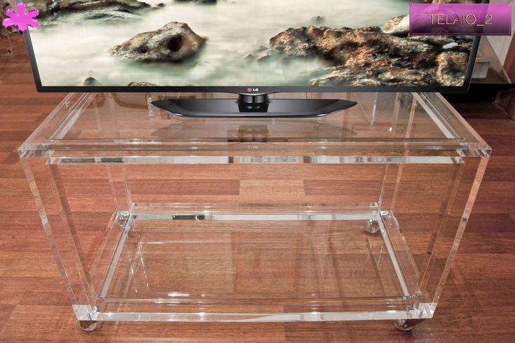 MOBILI TV IN PLEXIGLAS | 05. mobile trasparente in plexiglass per TV mod. TELAIO_2     | Porta TV plexiglass cm.80 x 40 h.50 - telai sp.mm.30 - gambe sez..mm.40
