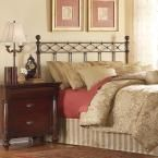 Argyle Queen-Size Headboard with Round Finial Posts and Diamond Wire Metal Grill Design in Copper Chrome Finish
