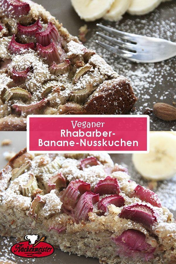 veganer Rhabarber-Banane-Nusskuchen inspiriert von Küchenmeister!