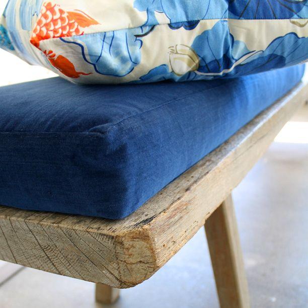 Custom Foam Bench Cushion In Indigo Velvet By Tonic Living. Classic Luxury.  #foam