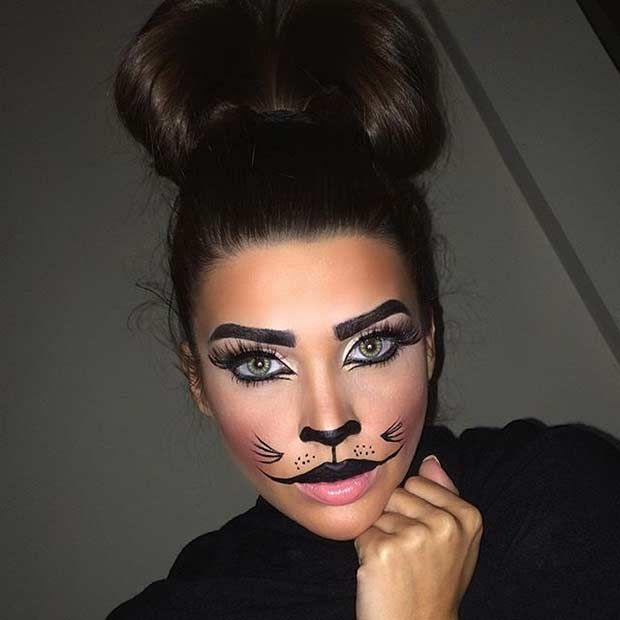 Cute Cat Makeup Look for Halloween