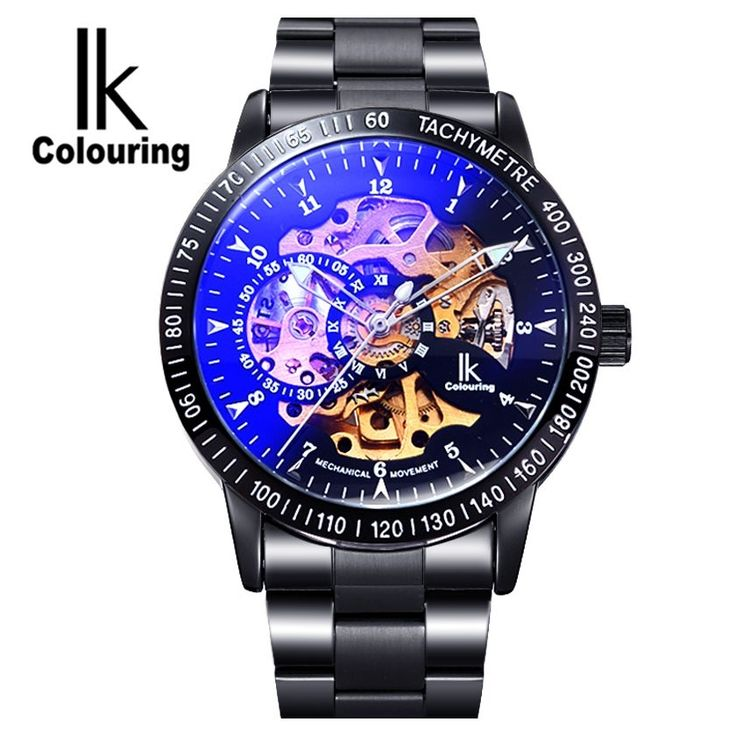 31.32$  Watch more here  - IK Colouring Men's Orologio Uomo Allochroic Glass Skeleton Auto Mechanical Watch Wristwatches Gift Box Free Ship