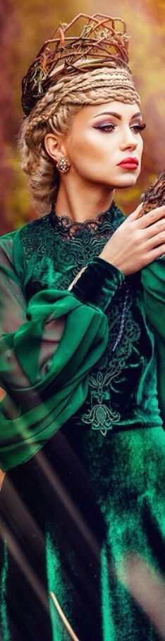 don't even like the green dress….don't know…just something about the crown, braids and pout….that Russian pout….wow