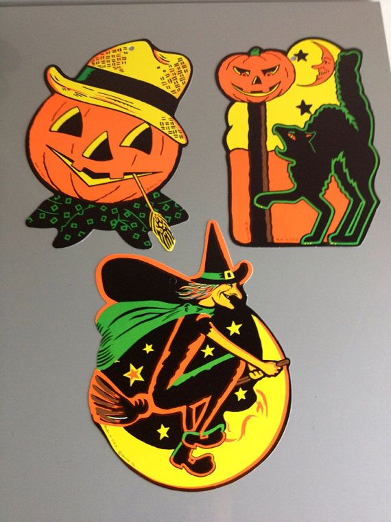 3 vintage beistle halloween cutout decorations by rarebirdboutique 1400 - Beistle Halloween Decorations