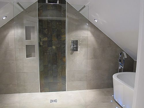 Bathroom/shower room design in a loft conversion - apex roof - soft sand/taupe tiles and white