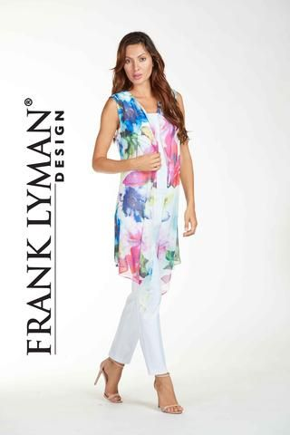 Frank Lyman 2017. Gorgeous chiffon printed sheer vest in bright vivid colours. Proudly Made in Canada