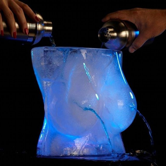 Lugez IceRack Ice Luge Mold. Take Some Shooters from the Hooters! Just pour a drink into the top and it comes out from the nipples chilled.