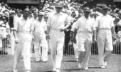 Douglas Jardine leads England on to the field for the second Test of the Bodyline series in Melbourne in 1933. Photograph: Hulton Deutsch/Allsport