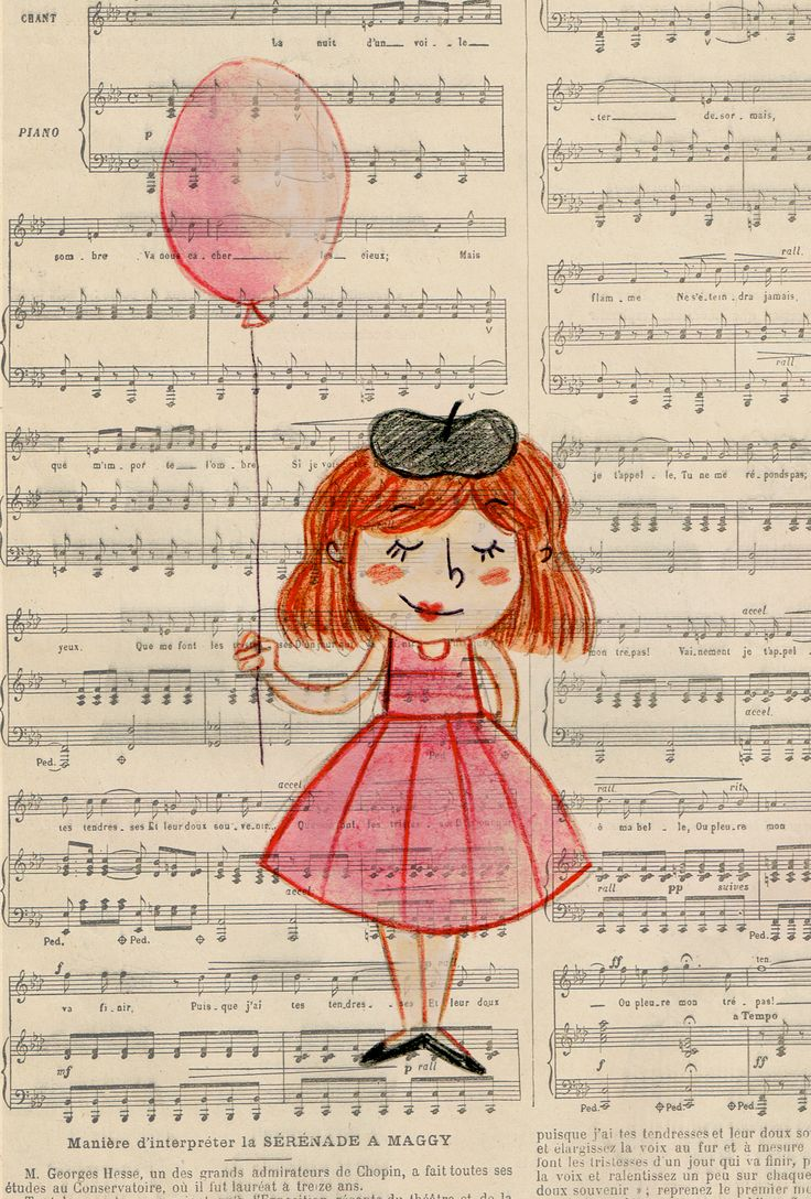 Coloured pencil and watercolour sketch of a little french lady on vintage french newspaper.
