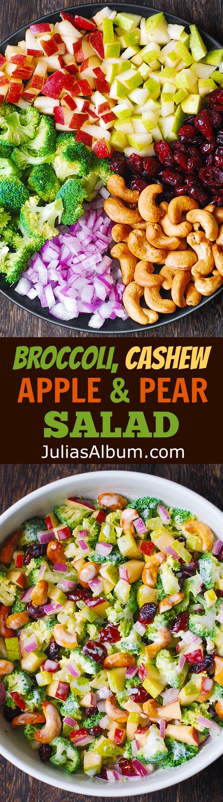 Broccoli, Cashew, Apple and Pear Salad with Cranberries and chopped red onions with the most delicious homemade salad dressing, made with mayonnaise, sour cream (or kefir or Greek yogurt), honey, and lemon juice!