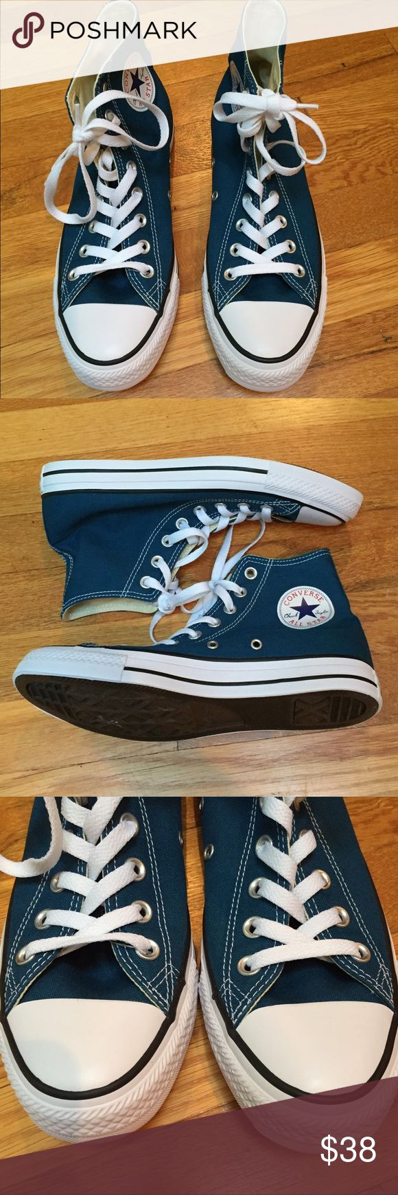 NWOB Converse all star high top sneakers New, without box. Converse high top sneakers. Hard to describe and capture color, kind of like a deep teal. Women's 9, men's 7. Retail for $60 Converse Shoes Sneakers