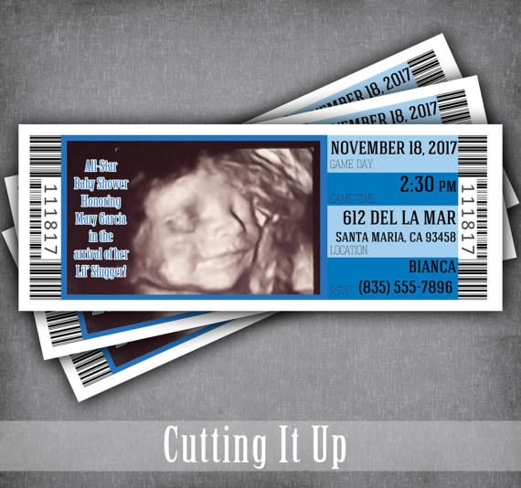 Ultrasound Baby Shower Ticket Invitations, Ultrasound Invitation, Sports Theme, Baseball Theme, Concert Theme, Movie, Boy, Twins, 3D, 4D by CuttingItUp on Etsy