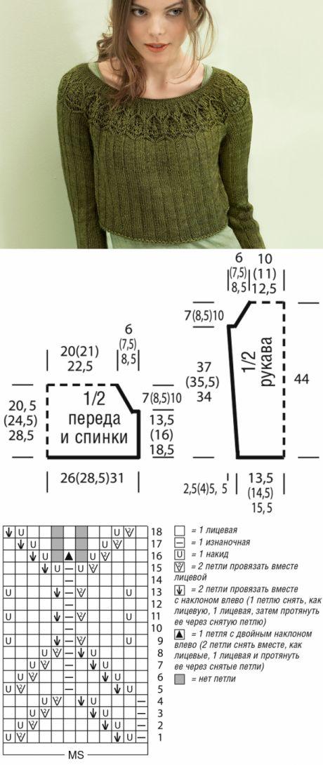 El saltador hípico corto con la coqueta redonda - el esquema de la labor de punto por los rayos. Tejemos los Saltadores hípicos en Verena.ru