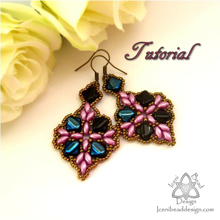 PDF Tutorial Anya Earrings with Silky Beads and Super Duo Beads. Pattern, Instructions, beadwork. English Only, by IceniBeadDesign on Etsy https://www.etsy.com/listing/221336535/pdf-tutorial-anya-earrings-with-silky