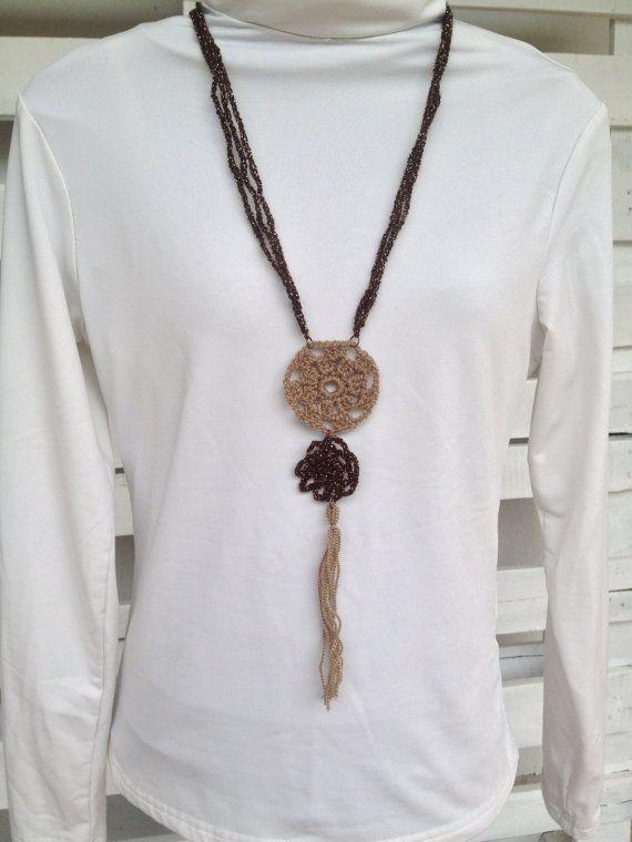 Crochet rosette-flower tassel necklace and matching flower earrings