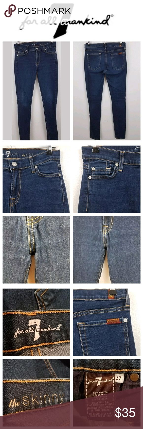 7 For All Mankind skinny dark wash jeans stretch Seven For All Mankind women's size 27 dark wash skinny jeans. There is some pulling around the crotch as well as some wear on the knees. Inseam measures 30 inches.  Inv R. 7 For All Mankind Jeans Skinny