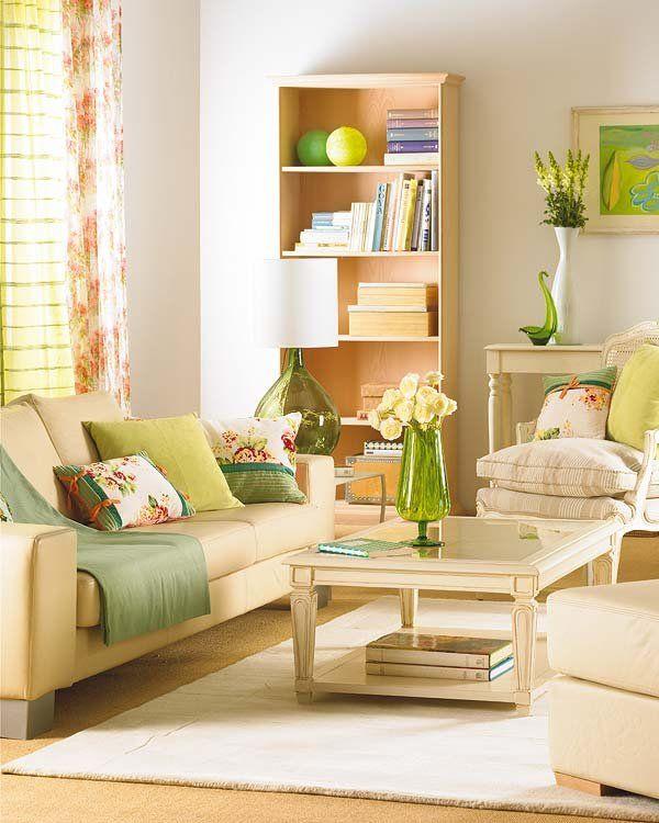 Un salón fresco en verdes